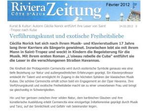 Presse l'oiseau Riviera Zeitung